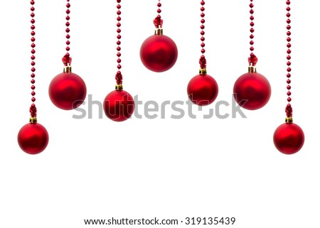 Christmas decoration (hanging balls) with space for text on white background - stock photo