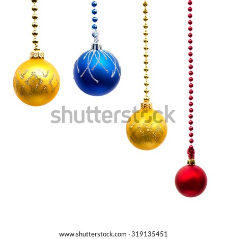 Christmas decoration (hanging balls) with space for text on white background