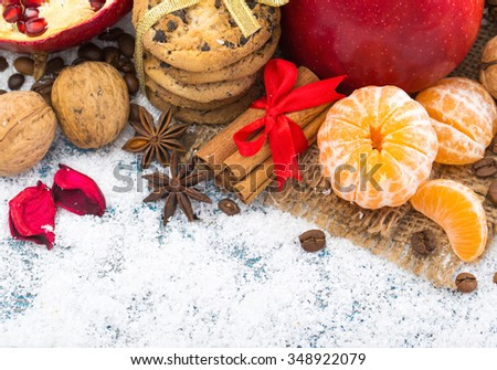 Christmas decoration hanging over wooden background