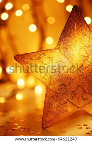 Christmas decoration, holiday background with golden lights - stock photo