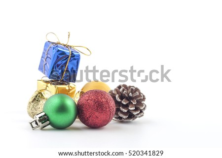 Christmas Decoration. Holiday Decoration lsolated on White Background. space for text your