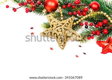 Christmas Decoration. Holiday Decorations Isolated on White Background - stock photo