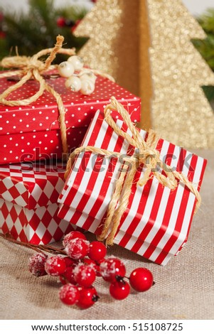 Christmas decoration image with gift boxes