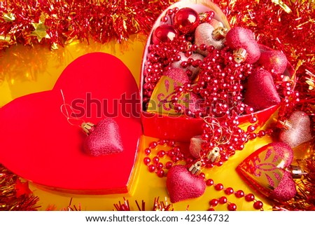 christmas decoration in box - stock photo