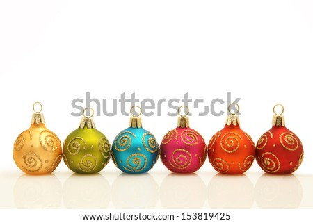 Christmas decoration in bright colors with reflection Studio shot - stock photo