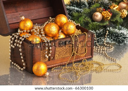 Christmas decoration in chest on Christmas background - stock photo