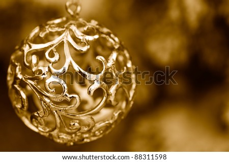 Christmas decoration in gold - stock photo
