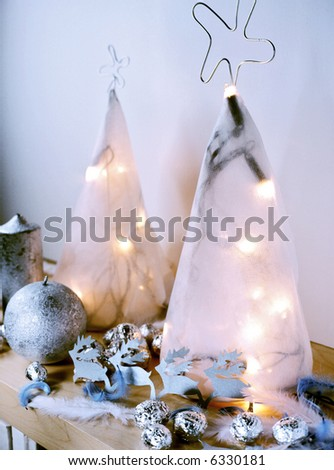 christmas decoration in living-room - stock photo