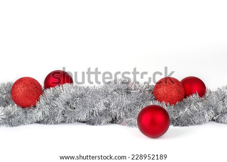 Christmas decoration in silver and red - stock photo