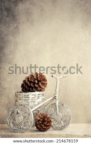 Christmas decoration in the bicycle - stock photo