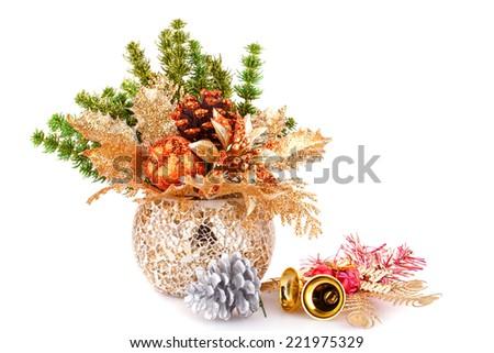 Christmas decoration in vase isolated on white background. - stock photo