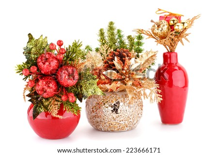 Christmas decoration in vases isolated on white background. - stock photo