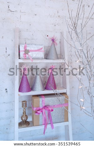 Christmas decoration in white and pink colors