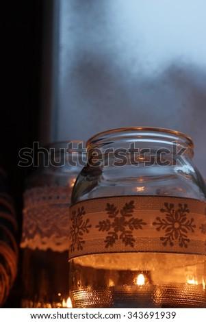 Christmas decoration in window - stock photo