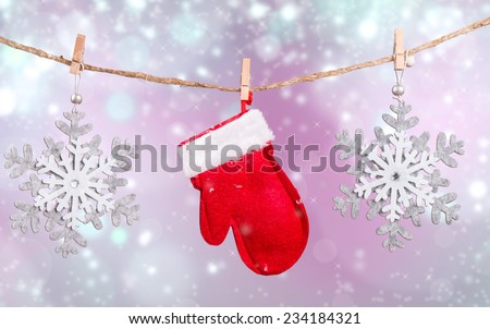 Christmas decoration inline on snow with abstract background  - stock photo