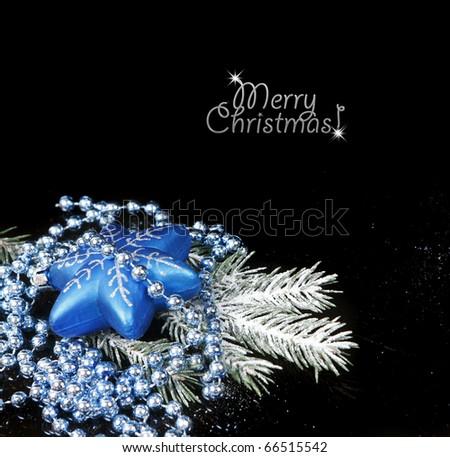 Christmas Decoration isolated on black background (shallow DoF) - stock photo