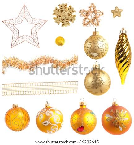 Christmas decoration, isolated on white - stock photo