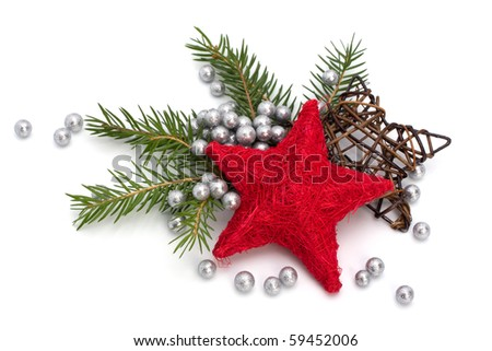 Christmas decoration isolated on white background - stock photo