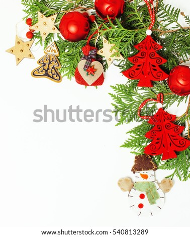 christmas decoration isolated , white background for post card gift vintage, copyspace for text, fashion stylish red toys