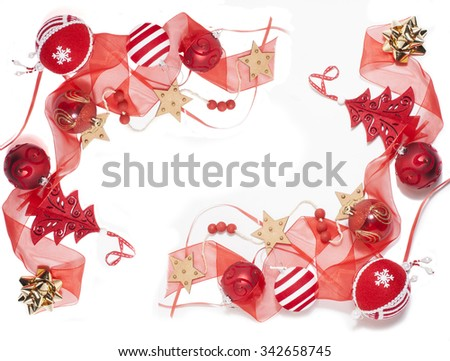 christmas decoration isolated , white background for post card greetings, toy design on tree macro - stock photo