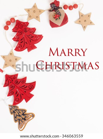 christmas decoration isolated , white background for post card greetings, toy design on tree macro text - stock photo