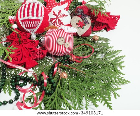 christmas decoration isolated , white background for post card greetings, toy design on tree macro xmas vintage close up - stock photo