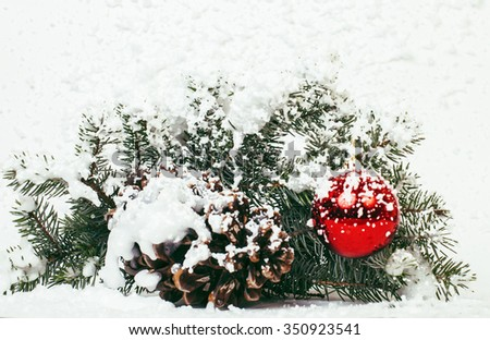 christmas decoration isolated , white background for post card greetings, toy design on tree macro xmas. snow covered - stock photo
