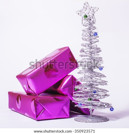 christmas decoration isolated , white background for post card greetings, toy design on tree macro, gifts purple stylish close up - stock photo