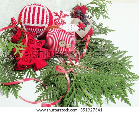 christmas decoration isolated , white background for post card greetings, toy design on tree macro vintage - stock photo