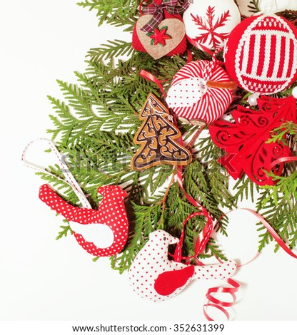 christmas decoration isolated , white background for post card greetings, toy design on tree macro vintage close up