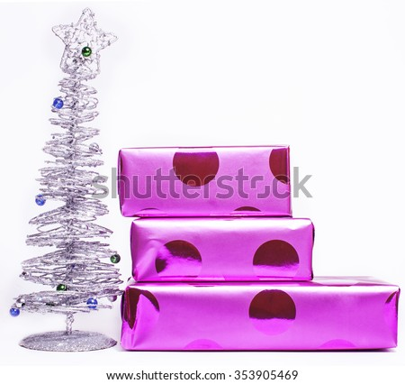 christmas decoration isolated , white background for post card greetings, toy design on tree macro, gifts purple stylish close up new year - stock photo