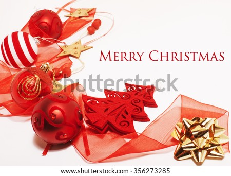 christmas decoration isolated , white background for post card greetings, toy design on tree macro text, new year - stock photo