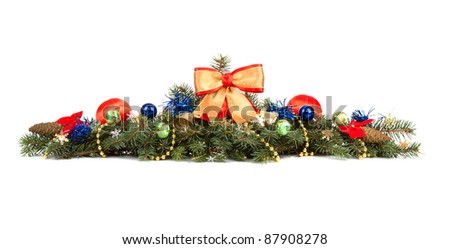 Christmas decoration laying in pine branches - stock photo