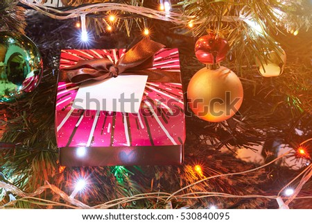 christmas decoration lights with tree and gift colorful box