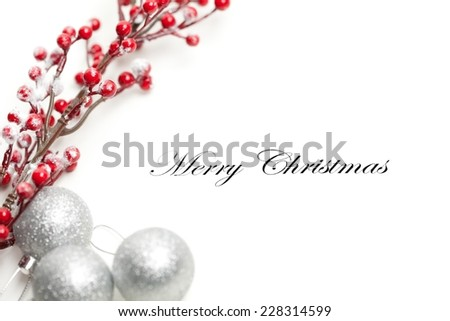 Christmas decoration, Merry Christmas written in the middle. Useful as a christmas card. - stock photo