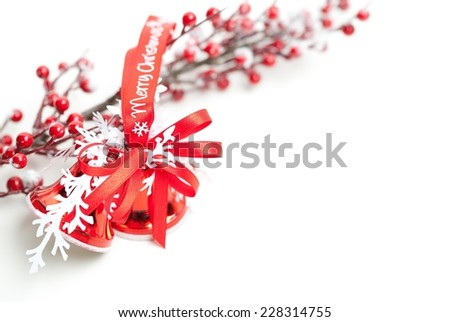 Christmas decoration, Merry Christmas written on the bells. Useful as a christmas card. - stock photo