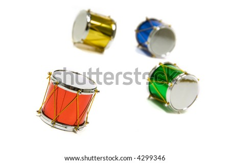 Christmas decoration, miniature drums, on whte background