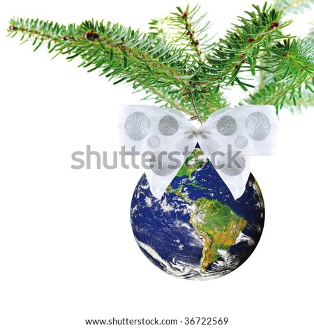 Christmas decoration of planet earth with white bow on christmas tree on white square background
