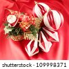 Christmas Decoration on a red background - stock photo