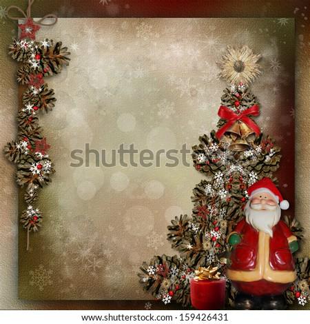Christmas decoration on a vintage background   - stock photo