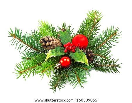 christmas decoration on a white background - stock photo