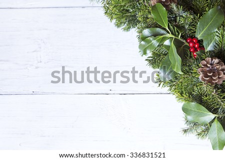 Christmas decoration on a white wooden background - stock photo