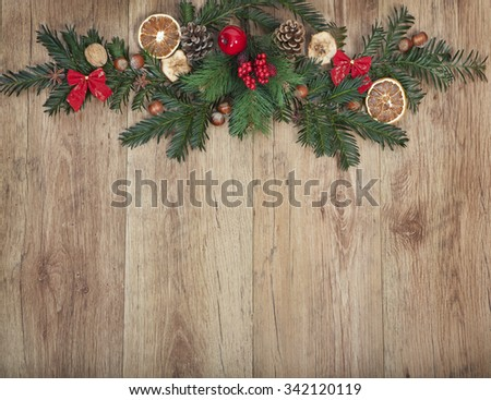 Christmas decoration on a wood background with copy space