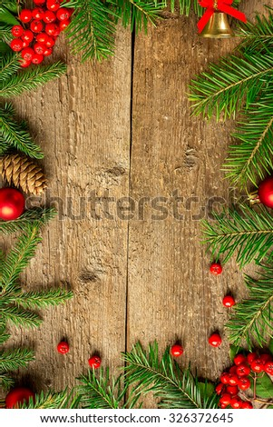 Christmas decoration on a wooden board. Christmas Card