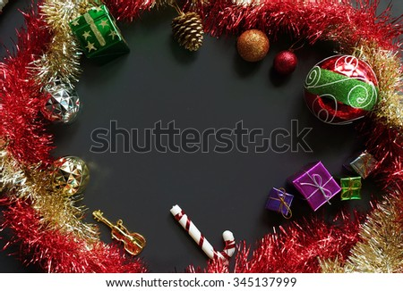 Christmas Decoration on Black - Copy Space, From Above