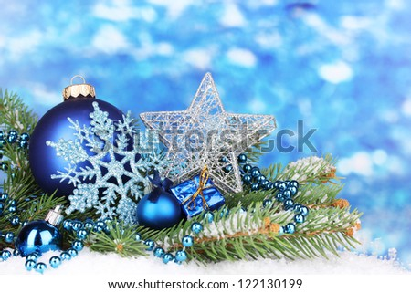Christmas decoration on blue background - stock photo