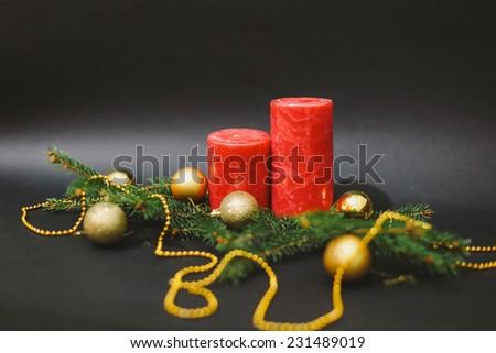 Christmas decoration on blue, black background - stock photo