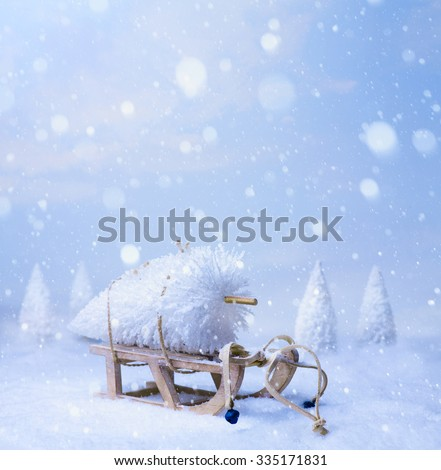 christmas  decoration on blue snow background - stock photo