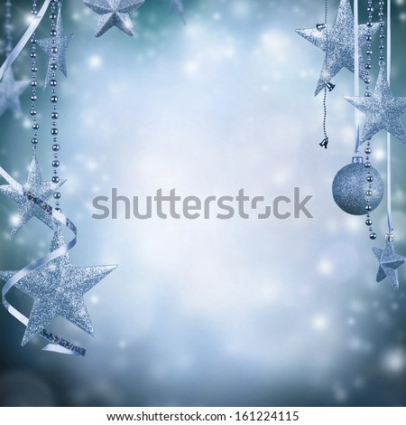 Christmas decoration on blur blue background