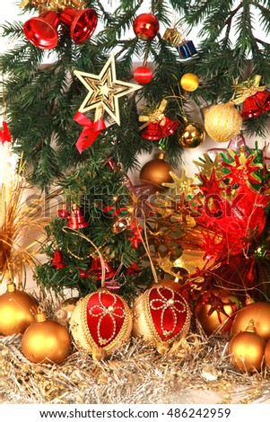 Christmas decoration on bubble background .